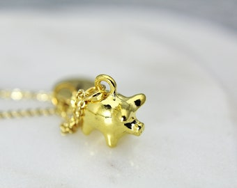 97ccb8a0e Gold Pig Charm Necklace, Pig Charm, Farm Animal Gift, Pet Pig Charm, Pet  Gift, Piggy Bank Charm Necklace, Piggy Bank Charm, N328