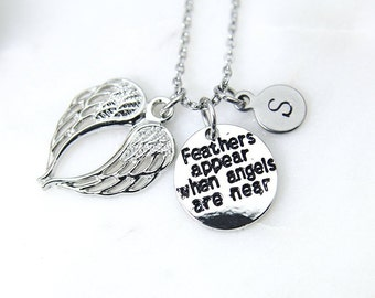 Guardian Angel Necklace, Silver Feathers Appear When Angels Are Near Charm Necklace, Angel Wing Charm, Feather Charm, Personalized Gift N996