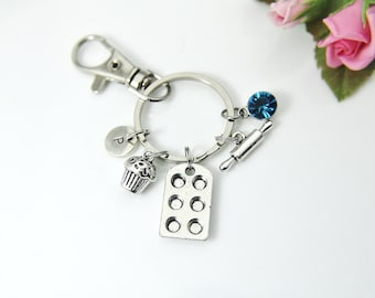 Baker Keychain, Muffin Bake Pan Charm, Rolling Pin Charm, Cupcake Charm, Foodie Gift, Baker Gift, Cupcake Pan Charm, Personalized Gift N1001