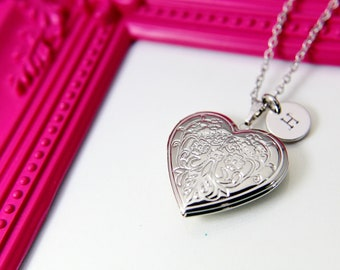 06ce1d53d Silver Heart Flower Locket Pendant Necklace, Love Necklace, Keepsake Photo  Frame Charm, Personalized Customized Jewelry Gift, L004