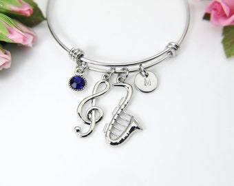 984d12429 Silver Saxophone Charm Bracelet, Saxophone Charm, Music Melody Charm, Music  Note Charm, Music Gift, Personalized Gift, Christmas Gift, N679