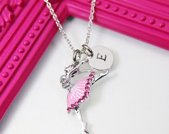Dainty Necklace Personalized Necklace with Initial Birthstone Best Gift \u201cDance\u201d Washer  Ballet Dancing Girl Charms for Girl  Mom Sister