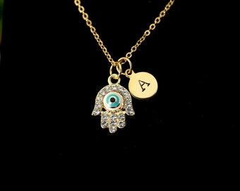 Gold Hamsa Evil Eye Necklace, Hamsa Evil Eye Charm, Kabbalah Jewish Gift, Luck Gift, Protective Gift, Personalized Gift, Christmas Gift N562