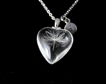 Dandelion Charm Necklace, Wish Gift, One Seed Dandelion Heart Charm,  Birthday Gifts, Pressed Flowers Jewelry, Gardening Gift, N1005