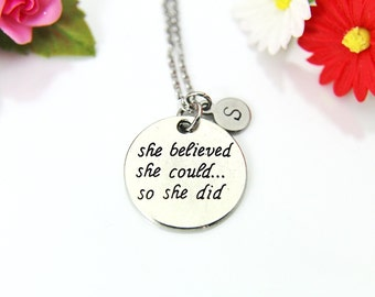 Silver Pink Box Flower Pendant Inspirational Necklace She Believed she Could