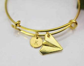 2117f0b7a5 Paper Plane Bracelet, Paper Plane Bangle, Paper Plane Charm, Airplane  Charm, Personalized Gift, Adventure Gift, Outdoor Gift, Travel Gift