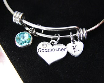 godmother charm bracelet godmother heart bangle godmother gift godparent gift aunt gift christmas gift personalized initial b220