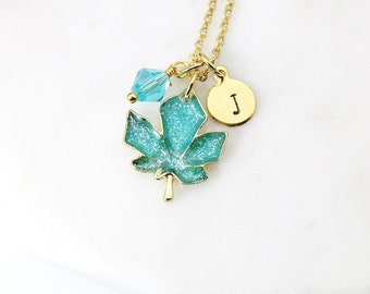 Gold Green Maple Leaf Necklace, Green Maple Leaf Charm, Maple Jewelry, Personalized Gift, Christmas Gift, N990