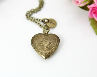 6dbd6b8f1 Bronze Heart Locket Pendant Necklace, Love Necklace, Keepsake Photo Frame  Charm, Personalized Customized Jewelry Gift, L003