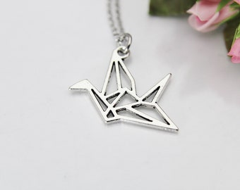 Origami Theme Charm Jewelry Personalized Origami Crane Necklace Origami Gifts For Women Crane Bird Necklace Japanese Crane Necklace