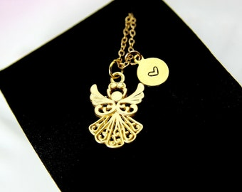 """Rose Gold /'Guardian Angel Protect Me/' Engraved Good Luck Charm Necklace 18/"""" A"""