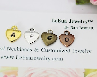 Heart Charm, Personalized Alphabet Charm, Initial Charm, Hand Stamped Letter Charm, Letter Jewelry, Initial Charm, Initial Pendant