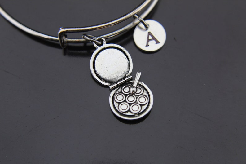 7af16b2cac710 Silver Makeup Charm Bangle Silver Makeup Bangle Makeup Artist Gifts  Personalized Expandable Bangle Initial Charm Initial Bangle Customized