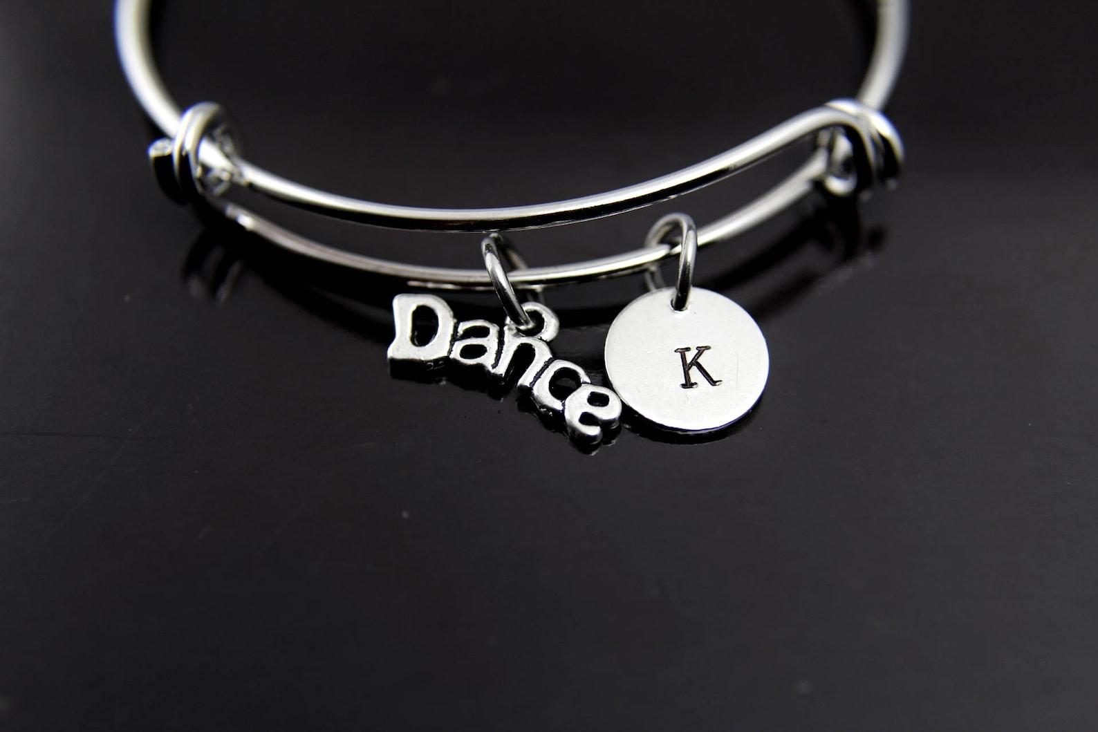 dance bracelet ballet dance bangle ballet dance charm ballet charm dance bracelet jewelry dance girl gift personalized initial b