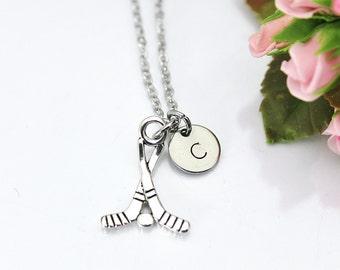 Hockey Necklace, Silver Hockey Stick Charm Necklace, Hockey Charm, Hockey Stick Charm, Hockey Mom's Gift, Hockey Player Gift, N156