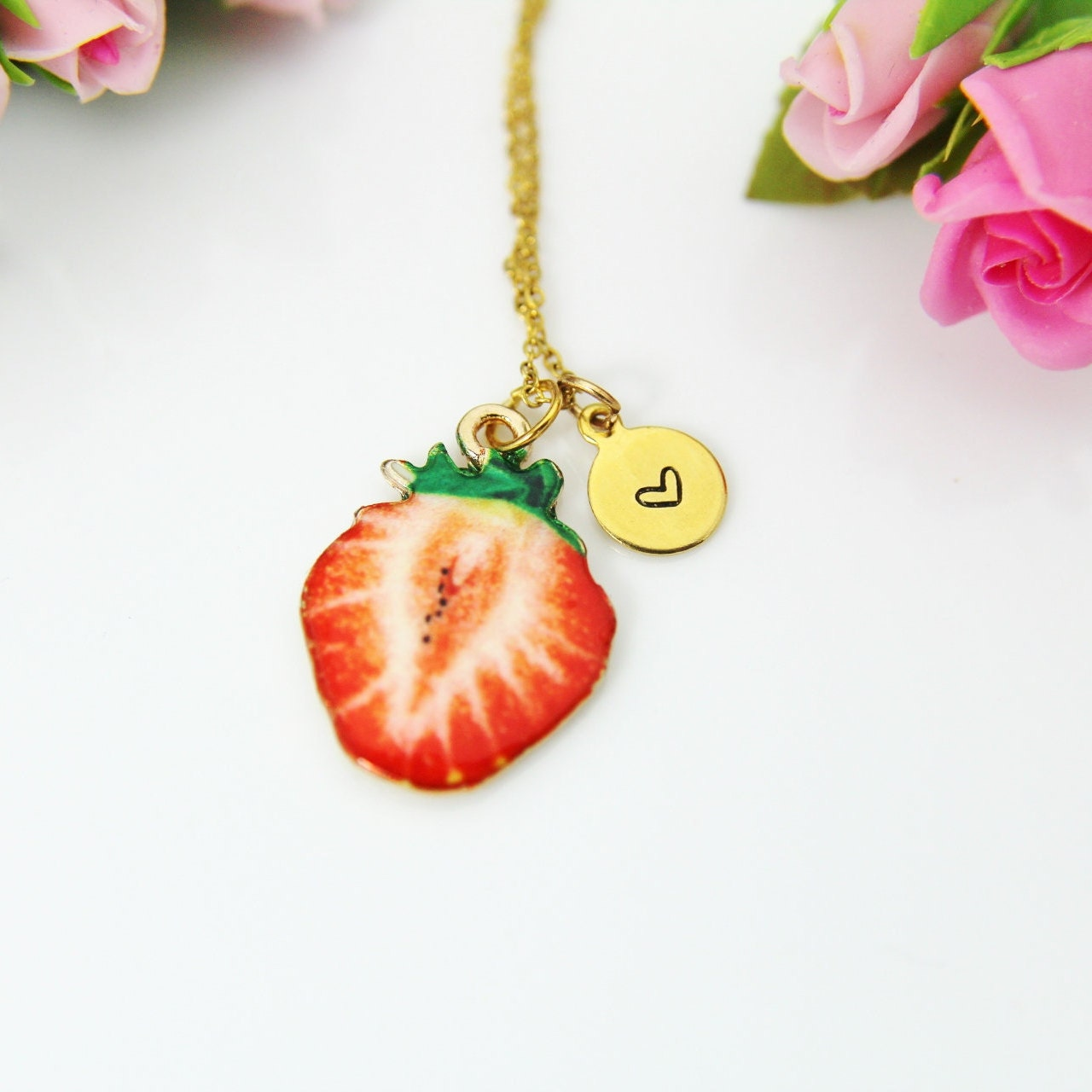 Strawberry Pendant Necklace Strawberry Rosary Style Necklace Black Beaded Strawberry Necklace