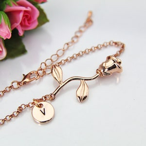 Girlfriend Gift Mother/'s Day Gift Rose Flower Charm Rose Gold Rose Charm Rose Gold Rose Bracelet B46 Garden Gifts Rose Bracelet