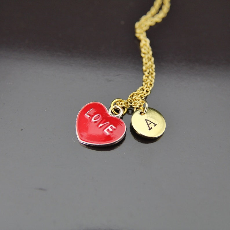 971baa3f1 Gold Love Heart Charm Necklace Love Heart Charm Red Heart | Etsy