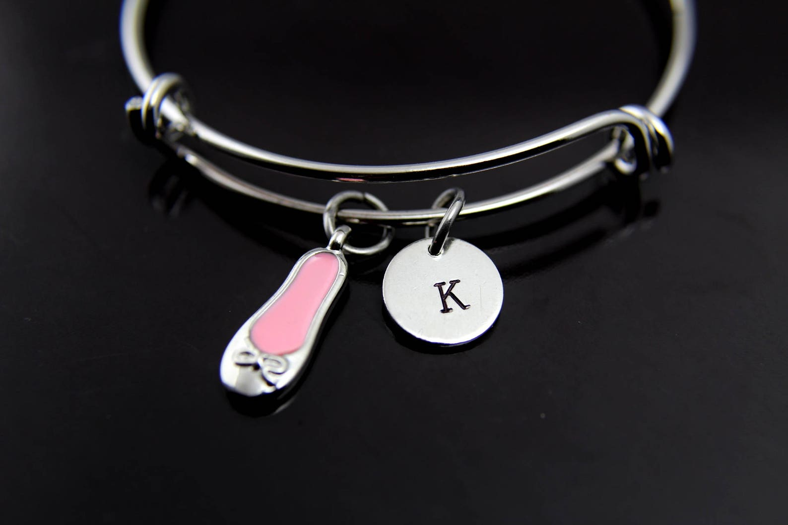 ballet bangle pink ballet shoe bracelet ballet shoe charm ballet charm jewelry ballet dance girl gift personalized initial brace