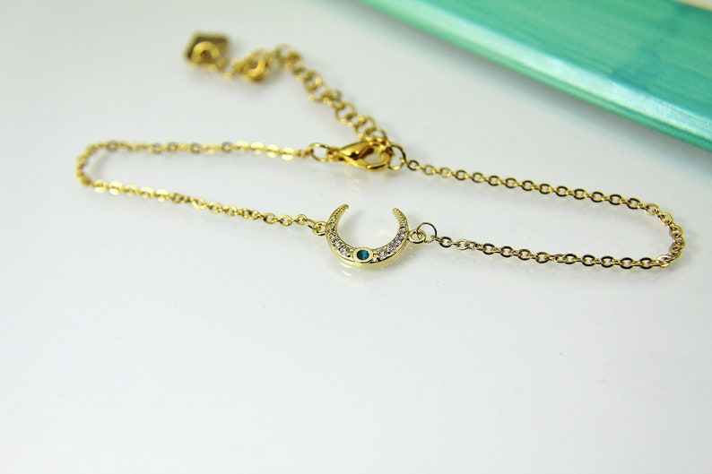 Girlfriend Gift Mother/'s Day Gift Anniversary Gift Gold Crescent Bracelet Synthetic Opal Moon Bracelet Moon Bracelet G261