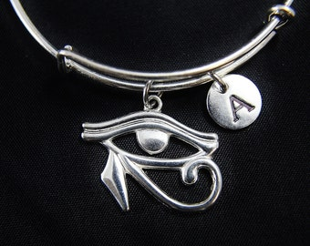Silver Eye of Horus Charm Bangle, Silver Egyptian Eye of Ra Charm with Personalized Initial Charm on Expanable Bangle
