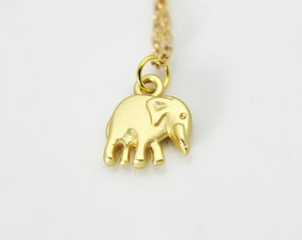 Elephant Necklace, Elephant Charm Necklace, Gold Elephant Charm, Animal Charm, Mother's Day Gift, Christmas Gift, Personalized Gift, N285