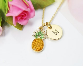 Gold Pineapple Charm Necklace, Pineapple Charm, Food Fruit Charm, Hand Stamped Personalized Initial or Zodiac Constellations Gift, N2193