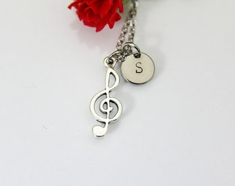 Treble Clef Necklace, Treble Clef Charm, Music Necklace, Music Note Charm, Music Teacher Gift, Personalized Gift, Best Friend Gift