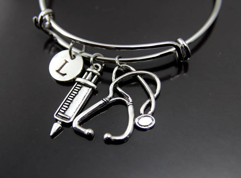 Silver Stethoscope Medical Syringe Charm Bracelet Syringe Stethoscope Bangle Medical Student Gift Doctor Gift Nurse Gift Personalized Bangle