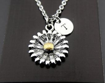 Daisy Necklace Silver Daisy Charm Necklace Sunflower Necklace Flower Necklace Personalized Necklace Initial Necklace Initial Necklace