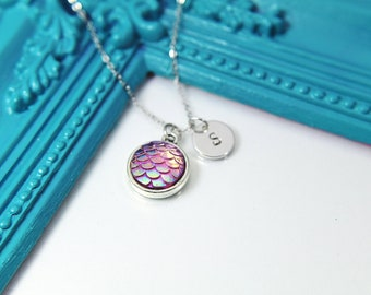 Mermaid Scale Necklace, Iridescent Mermaid Scale Charm, Fish Scales, Best Friend Gift, Personalized Gift, N1409