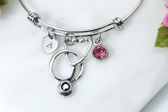 8 Silvertone Stethoscope Aunt You Are Loved Circle Bracelet