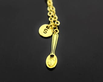 Spoon Necklace Gold Spoon Charm Necklace Spoon Charms Foodie Gift Spoon Jewelry Personalized Necklace, Initial Charm, Initial Necklace