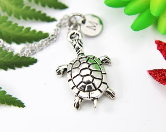 Turtle Necklace, Turtle Charm, Animal Charm, Pet Gift, Turtle Lover Gift, Personalized Necklace, Initial Charm, Initial Necklace,