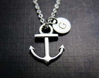 Traveler Gift, Travel Gift, Adventure Gift, Outdoors Gift, Silver Anchor Charm Necklace, Ship Anchor Charm, Nautical Jewelry