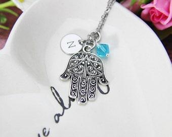Hamsa Necklace, Silver Hamsa Charm, Hamsa Hand Charms, Palm Charm, Palm Necklace, Kabbalah Necklace, Protective Gift, Personalized Gift, N59