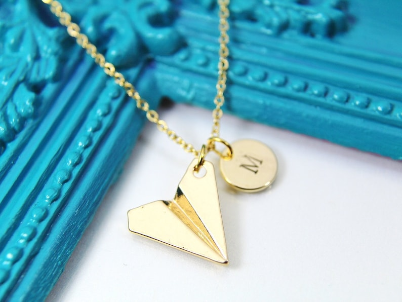 Best Christmas Gift Gold Paper Airplane Charm Necklace image 0