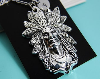 Indian Necklace, Indian Head Charm,Boyfriend Gift, Personalized Gift, Mens Personalized, Best Friend Gift, Coworker Gift