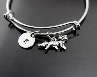 Silver Fox Charm Bracelet Fox Charm Bangle Wild Animal Charm Adventure Gift Outdoors Gift Coworker Gift Pet Gift Personalized Bracelet