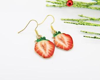 Red Strawberry Earrings Gold Strawberry Charm Earrings Strawberry Jewelry Fruit Jewelry Gold Earrings Dangle Earrings Christmas Gift