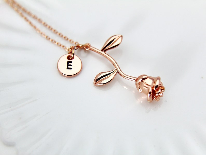 Rose Gold Rose Necklace Rose Gold Rose Charm Rose Flower image 0