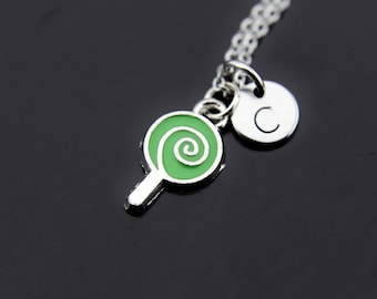 Green Necklace, Lollipop Charm Necklace, Lollipop Necklace, Lollipop Charm, Personalized Gift, Foodie Gift, Best Friend Gift, Coworker Gift