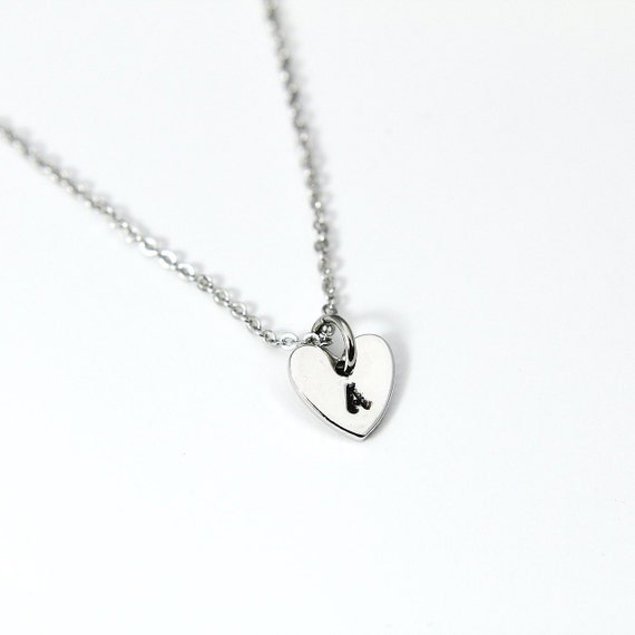 Heart Initial Necklace Platinum Hand Stamp Charm Dainty