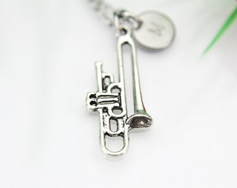 Trombone Necklace, Silver Trombone Charm, Music Instrument Charm, Music Gift, Personalized Gift, Best Friend Gift,