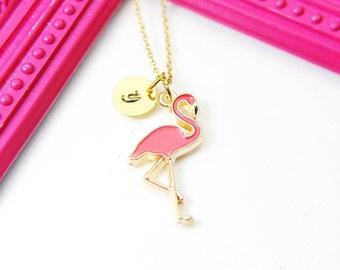 Gold Flamingo Charm Necklace, Flamingo Bird Charm Necklace, Pink Bird Jewelry, Personalized Customized Monogram Initial Necklace, N2678