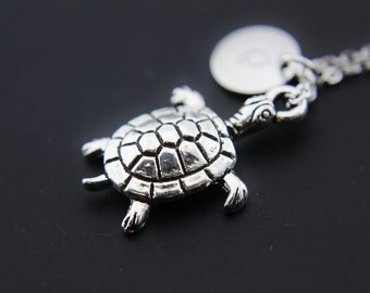 Silver Tortoise Charm Necklace, Turtle Charm, Turtle Club,Turtle Charm, Personalized Necklace, Initial Charm, Initial Necklace, Customized