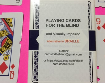 Playing Cards For The Blind And Visually Impaired ALTERNATIVE TO BRAILLE