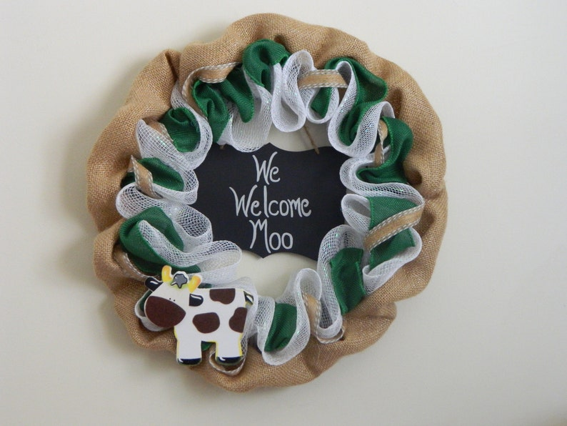 Welcome wreath Cow wreath Country wreath Year round wreath Gift for her Housewarming wreath Gift 35 and under Christmas gift