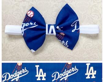 Los Angeles Dodgers Bow headband; Baseball bow; Dodgers fabric bow on white elastic headband or hair clip; Dodger bow; baby, toddler, girl