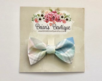 ae893111c370 Easter bow tie, clip on baby bow tie, toddler bow tie, boy bow tie, bow tie  clip; Pastel Plaid bow tie, Easter bow, newborn, toddler, boy